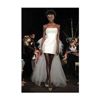 Anne Bowen - Fall 2012 - Love At First Sight Short Silk Satin Sheath Wedding Dress with Long Train -
