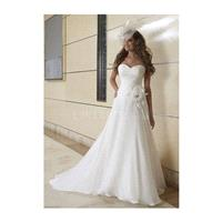 Sumptuous Floor Length Chiffon Sweetheart Natural Waist Court Train Wedding Gown - Compelling Weddin