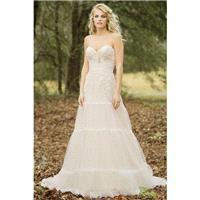 Style 6451 by Lillian West - A-line Sweetheart Floor length LaceSatinTulle Sleeveless Chapel Length