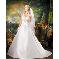 Generous A-line Straps V-neck Lace Chapel Train Satin Wedding Dresses - Dressesular.com