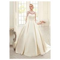 Elegant Tulle & Satin Bateau Neckline Ball Gown Wedding Dresses With Lace Appliques - overpinks.com