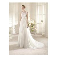Gorgeous Chiffon & Lace & Satin A-line Illusion Bateau Neckline Raised Waistline Wedding Dress - ove