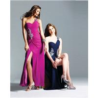 Charming A-line One Shoulder Beading Ruching Side Slit Floor-length Chiffon Wedding Guest Dresses -