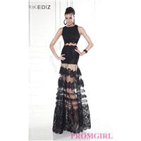 Two Piece Gown with a Sheer Skirt by Tarik Ediz - Discount Evening Dresses |Shop Designers Prom Dres