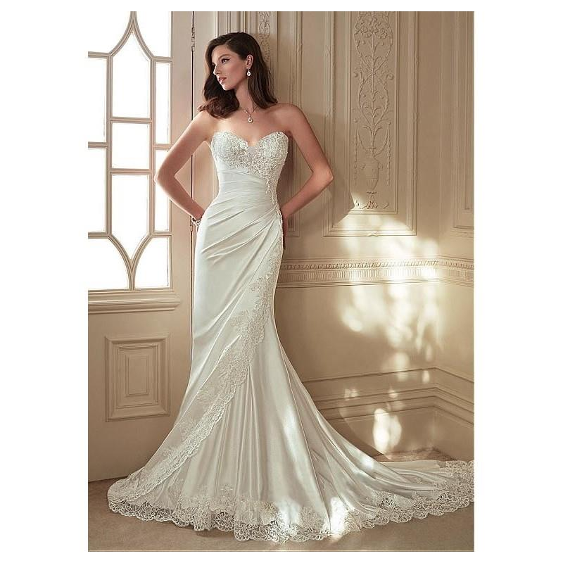 My Stuff, Elegant Stretch Satin & Tulle Sweetheart Neckline Sheath Wedding Dresses with Beaded Lace