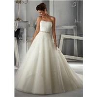 Blu by Mori Lee 5263 Strapless Lace Tulle Wedding Dress - Crazy Sale Bridal Dresses|Special Wedding