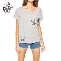 Streets of 2017 summer dress new animal print slim short sleeve t-shirt woman - Bonny YZOZO Boutique