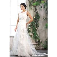 Impressive Ivory V-Neck Court Train Tulle Sleeveless Zipper With Buttons Wedding Dress CWXT13003 - T