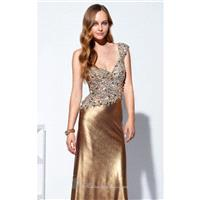 Bronze One Shoulder Dress by Terani Couture Prom - Color Your Classy Wardrobe