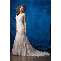 Style 9352 by Allure Bridals - Sheath Chapel Length Sleeveless Floor length LaceSatin Scoop Dress -