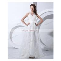 Empire Halter Sleeveless Tulle White Cheap Wedding Dresses With Ruffles BUKCH055 In Canada Wedding D