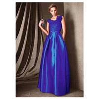 Fabulous Satin & Lace Scoop Neckline A-Line Prom Dresses With Handmade Flower - overpinks.com