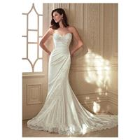Elegant Stretch Satin & Tulle Sweetheart Neckline Sheath Wedding Dresses with Beaded Lace Appliques