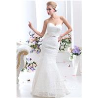 Sparkle Trumpet-Mermaid Sweetheart Sweep-Brush Train Lace Wedding Dress CWLT130D3 - Top Designer Wed