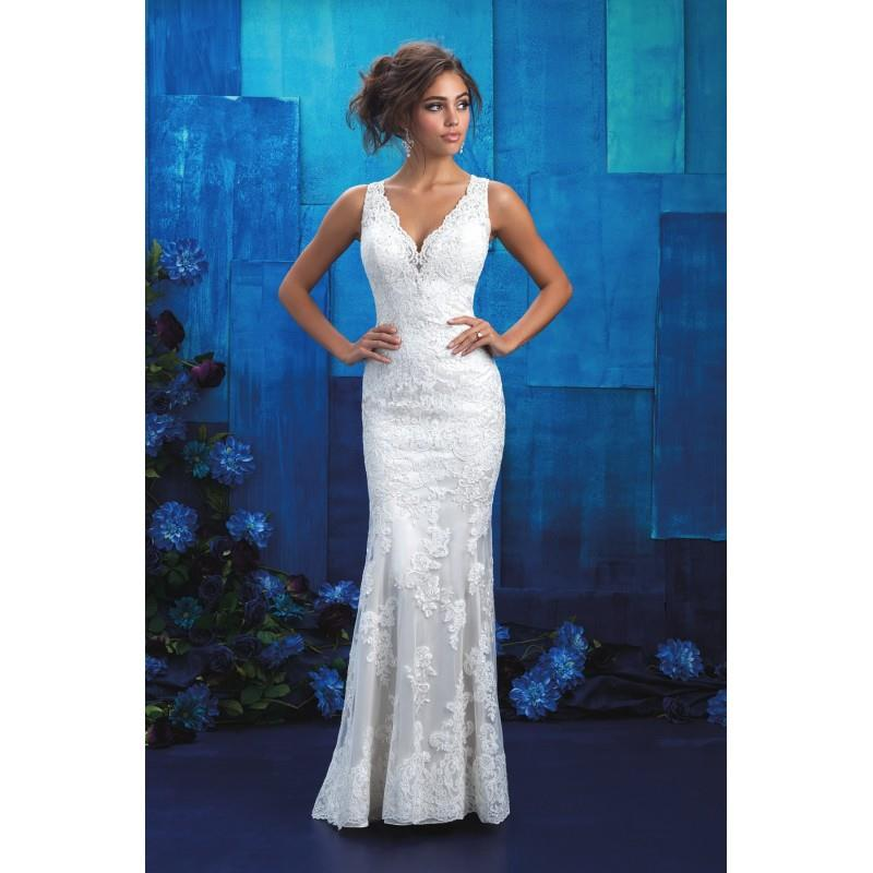 My Stuff, Style 9415 by Allure Bridals - Coffee  Ivory  White Lace Illusion back Floor V-Neck Column