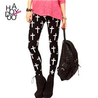 Ladies fall 2017 new slim skinny pencil pants printing high-elastic black leggings - Bonny YZOZO Bou