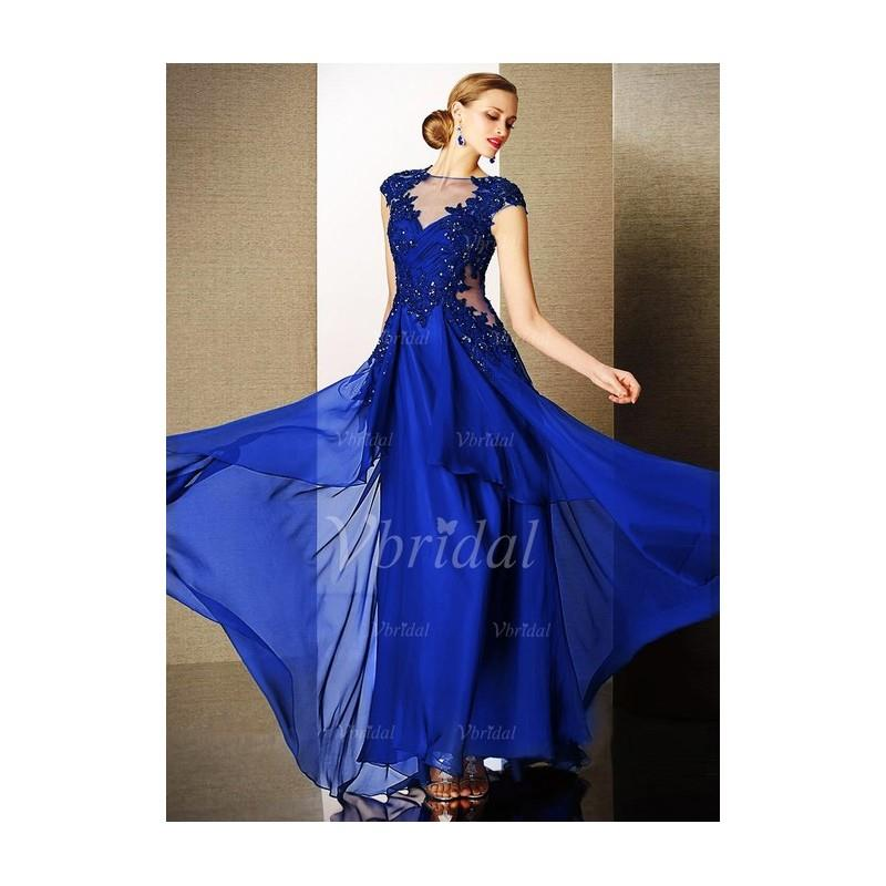 My Stuff, A-Line/Princess Scoop Neck Floor-Length Chiffon Tulle Charmeuse Prom Dress With Beading -