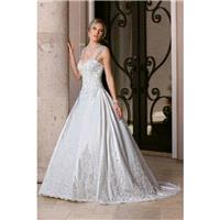 Style 50352 by DaVinci Bridal - Sleeveless Floor length LaceSatin A-line Semi-Cathedral Sweetheart D