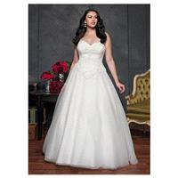Elegant Tulle Sweetheart Neckline Natural Waistline Ball Gown Plus Size Wedding Dress With Beaded La