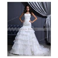 Trumpet/Mermaid Sweetheart Sleeveless Organza White Wedding Dress With Appliques BUKCH222 In Canada