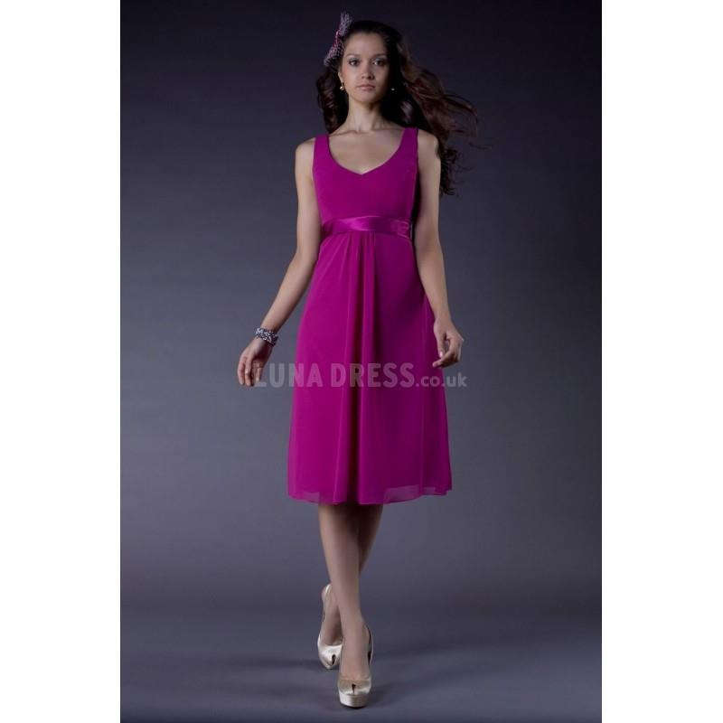 My Stuff, Sleeveless A line V Neck Chiffon & Charmeuse Knee Length Bridesmaid - Compelling Wedding D