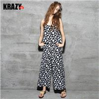 Casual charm strap + printed two sets of fresh wide-leg pants suit summer fashion female 7378 - Bonn
