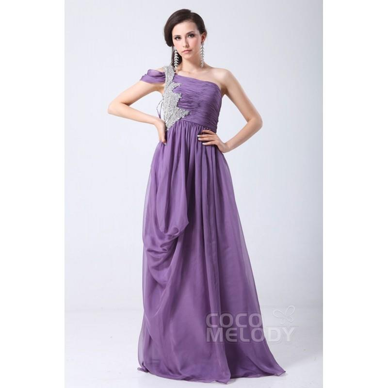 My Stuff, Pretty Sheath-Column One Shoulder Floor Length Chiffon Mother of The Bride Dress COSF14060