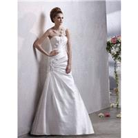 One Shoulder A line Satin Sleeveless Floor Length Timeless Wedding Gown - Compelling Wedding Dresses