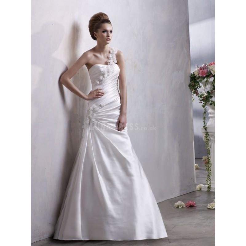My Stuff, One Shoulder A line Satin Sleeveless Floor Length Timeless Wedding Gown - Compelling Weddi