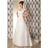 Retro A line Queen Anne Taffeta & Lace Asymmetric Waist Floor Length Wedding Dresses - Compelling We