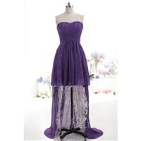 Asymmetrical Sweetheart Natural High-Low Chiffon Grape Royale Sleeveless Lace Up-Corset Cocktail Dre