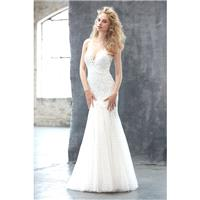 Madison James Style MJ306 by Madison James - Ivory  Champagne Lace Illusion back Floor Plunge  Illus