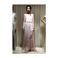 Houghton - 2013 - Long Sleeve Pink Lace Sheath Wedding Dress - Stunning Cheap Wedding Dresses|Prom D