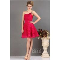 Sweet A-Line Strapless Short-Mini Chiffon Lace Up-Corset Party Dress with Flower COLB13010 - Top Des