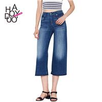 Wind fashion classic casual cropped pants washed the old fashion high waist skinny wide leg jeans -