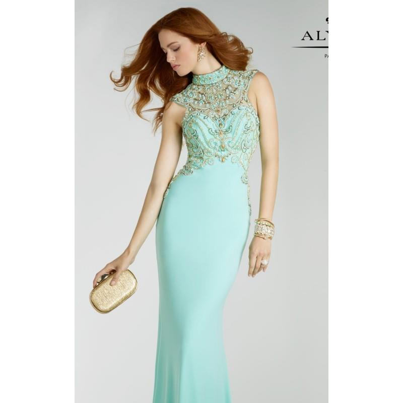My Stuff, Seabreeze/Gold Beaded Jersey Long Gown by Alyce Prom - Color Your Classy Wardrobe