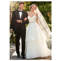 Alluring Organza Satin Sweetheart Neckline A-line Wedding Dresses with Beadings & Rhinestones - over