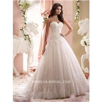 2017 Noble A-Line Strapless Sweetheart Sleeveless Beading and Applique Court Train Lace Wedding Dres