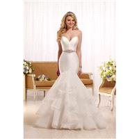 Style D2027 by Essense of Australia - Semi-Cathedral Tulle Sweetheart Floor length Fit-n-flare Sleev