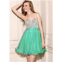 Classic Sleeveless Above Knee A line Sweetheart Chiffon Prom Gown With Crystal - Compelling Wedding