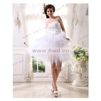 A-line Strapless Sleeveless Satin White Wedding Dress With Beading BUKCH278 In Canada Wedding Dress