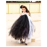 Black & White Lace Couture Flower Girl Tutu Dress/ Pageant Attire/Tutu Dress/ - Hand-made Beautiful