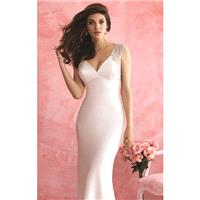 Ivory/Silver Beaded Crepe Charmeuse Gown by Allure Bridals Romance - Color Your Classy Wardrobe