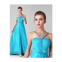 In Stock Fabulous Composite Filament Chiffon Halter Neckline Full Length A-line Prom Dress With Bead