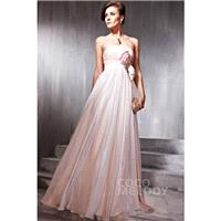 Fashion Sheath-Column Strapless Floor Length Chiffon Veiled Rose Side Zipper Evening Dress with Bowk