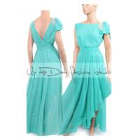 Plus Size Maxi chiffon   MINT /   bridesmaid / evening / party /  dress with swarovski crystals - Ha