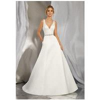Morilee by Madeline Gardner/Voyage Morena | 6862 - A-Line V-Neck Natural Floor Chapel Satin - Formal