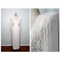 Heavy Pearl Beaded Sequin Gown // Fully Embellished Silk Wedding Dress // Ivory Cream White Sequined