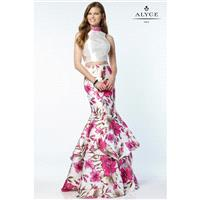 Alyce 6799 Prom Dress - Long Alyce Paris 2 PC, Crop Top, Trumpet Skirt High Neck Prom Dress - 2017 N