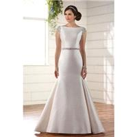 Style D2241 by Essense of Australia - Ivory  White Mikado Belt  Low Back  V-Back Floor Bateau  High